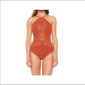 BECCA Lace Rickrack High Neck OnePiece Swimsuit